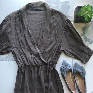 Zara Basic Brown Wrap Mid Sleeve Dress